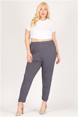 High Waist Plus size relaxed fit pants 87001X-Charcoal(6 PC)