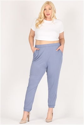 High Waist Plus size relaxed fit pants 87001X-Denim(6 PC)