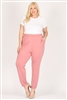 High Waist Plus size relaxed fit pants 87001X-Mauve(6 PC)