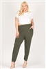 High Waist Plus size relaxed fit pants 87001X-Olive(6 PC)