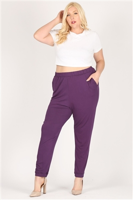 High Waist Plus size relaxed fit pants 87001X-Plum-(6 PC)