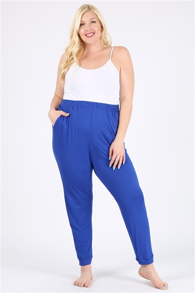 High Waist Plus size relaxed fit pants 87001X-Royal-(6 PC)