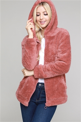 Faux Fur Teddy Bear Zip Up Hoodie Jacket PJJ-003-Mauve