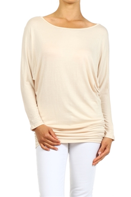 wholesale Dolman Sleeve Shirred Side Top PRR-8269-Beige