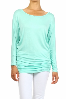 wholesale Dolman Sleeve Shirred Side Top PRR-8269-Mint