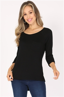 Long Sleeve Chest Pocket Hi Low Top PRR-8404-Black