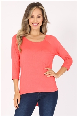 Long Sleeve Chest Pocket Hi Low Top PRR-8404-Coral