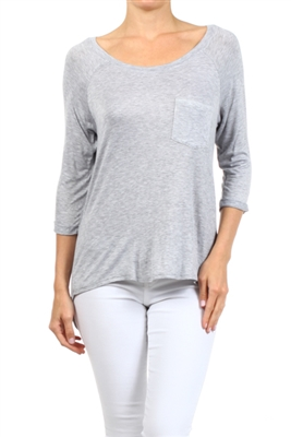 Long Sleeve Chest Pocket Hi Low Top PRR-8404-Grey