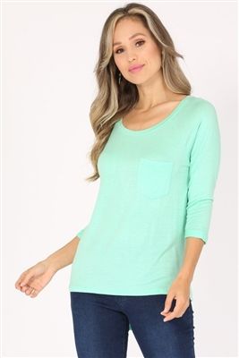 Long Sleeve Chest Pocket Hi Low Top PRR-8404-Mint