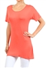 Wholesale Short Sleeve T-Shirt Dress PRR-8451-Coral