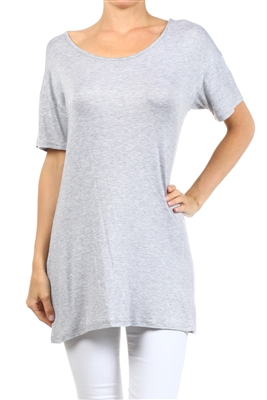 Wholesale Short Sleeve T-Shirt Dress PRR-8451-Gray