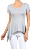 Wholesale Short Sleeve Hi Low Top PRR-8452-Gray