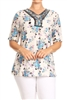PRINT PLUS TUNIC TOP WITH TRIMS-PSLPR-005