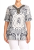 PRINT PLUS TUNIC TOP WITH TRIMS-PSLPR-009