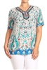 PRINT PLUS TUNIC TOP WITH TRIMS-PSLPR-011