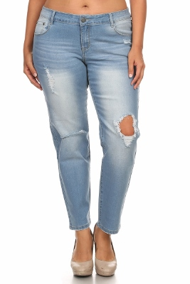 Plus size distressed Denim Jeans RRPB-2719