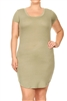 SOLID SCOOP NECK PLUS DRESS-RS-187X-OLIVE
