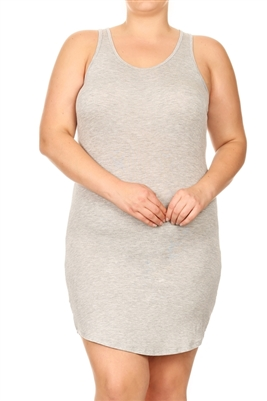 SOLID SLEEVELESS PLUS TANK DRESS-RS-188X-HEATHER (6 pc)