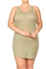 SOLID SLEEVELESS PLUS TANK DRESS-RS-188X-OLIVE (6 pc)