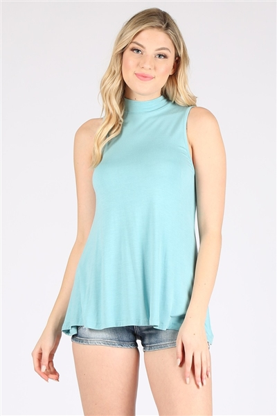 Mock Neck  Sleeveless Rayon Top RS-189R-BLUE (6 pc)