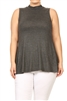 MOCK NECK SLEEVELESS RAYON PLUS TOP -RS189X-CHAR (6 pc)
