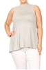 MOCK NECK SLEEVELESS RAYON PLUS TOP -RS189X-HEATHER (6 pc)