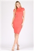 Cap Sleeve Solid dresses SLD-2008-Salmon