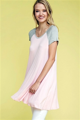 Loose fit two tones raglan tunic top SLT-1004-Pink