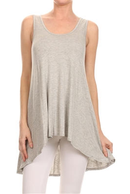 High low Cut Loose fit top SLT-1005-Grey