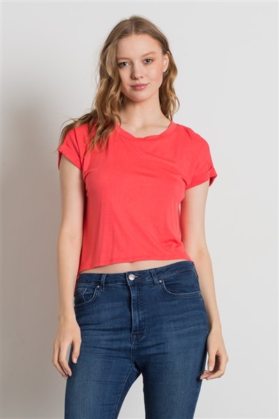 Hi-Low Short Sleeve Solid Top SLT-1014-Salmon