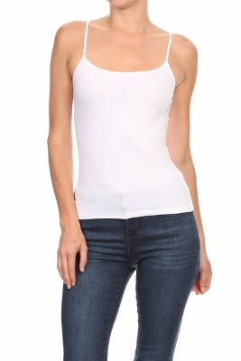 BASIC SOLID Knit Tank TOP ST-006-White