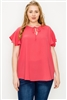 Plus size koshibo polo tops