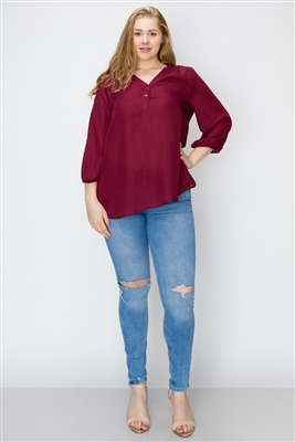 Wool Dobby Henley Plus Top WT817X-Burgundy-(6 PC)
