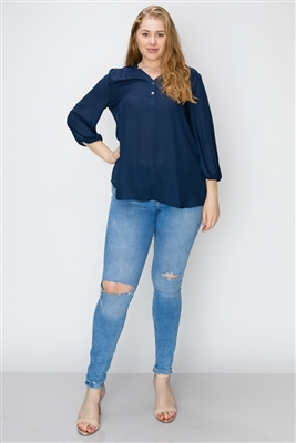 Wool Dobby Henley Plus Top WT817X-Navy-(6 PC)