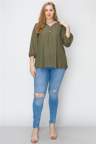 Wool Dobby Henley Plus Top WT817X-Olive-(6 PC)