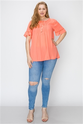 Wool Dobby Pintuck Hi-Low Plus Tunic WT821X-Coral(6 PC)