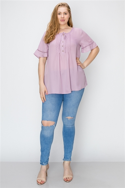 Wool Dobby Pintuck Hi-Low Plus Tunic WT821X-Lavender(6 PC)