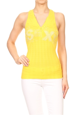 Seamless One size fits all top Y-2737-Yellow
