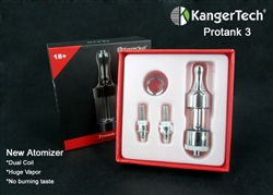 Kanger Pro Tank 3 Glassomizer w/ 2- (dual)Coils - Clear Glass