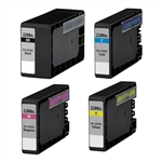 Canon PGI2200xl & CLI2200xl Remanufactured  Set of 4 Ink Cartridges: 1 Pigment Black PGI2200xl, 1 each of CLI2200xl C/M/Y