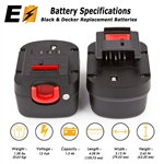 2X 12 VOLT Battery Replacement for Black & Decker Cordless Drill