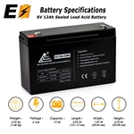 6V 12Ah 6Volt 12 amp hour battery