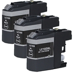 3 pack Brother LC103 XL Black Ink Cartridge Set for MFC