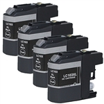 4 pack Brother LC103 XL Black Ink Cartridge Set for MFC
