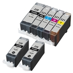 7 PACK CANON INKJETS PGI-220 CLI-221  Combo, Remanufactured  Cartridges With Level Chip.