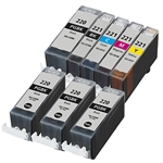 8 PACK CANON INKJETS PGI-220 CLI-221  Combo, Remanufactured  Cartridges With Level Chip.