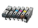 6 PACK CANON INKJETS PGI-220 CLI-221  Combo, Remanufactured  Cartridges With Level Chip.