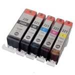 CANON PGI-220 CLI-221  Ink Cartridges, 5 Pack Canon printer Ink Combo, Compatible Cartridges With Level Chip.