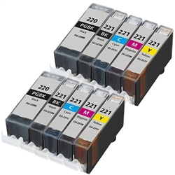 10PK Canon PGI-220 CLI-221 Ink Cartridges combo