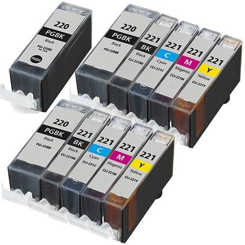 11-Pack Ink Cartridges Set Compatible Canon PGI-220 CLI-221